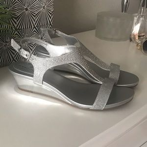 Silver Sparkly Low Wedges
